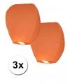 3x Papieren wensballon oranje