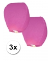 3x Papieren wensballon roze