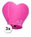 3x grote wensballon in hartvorm roze 100 cm