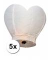5x grote wensballon in hartvorm wit 100 cm