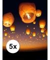 5x wens en geluk ballonnen wit voordeelpak