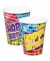 Gekleurde Happy Birthday bekers 6 stuks