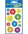 Bloemengezichtjes stickers 2 vellen