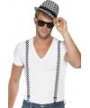 Zwart/witte bretels en hoed