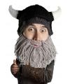 Gebreide viking muts met grijze baard