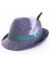 Tirol hoed grijs met veer