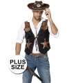 Toppers Grote maat cowboy vest voor heren