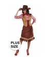 Toppers Grote maten cowgirl jurk met geruite blouse voor dames