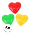 Carnavalskleur hartjes ballonnen 6 stuks