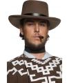 Cowboyhoeden bruin met zwarte band