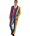 Carnavalskleding heren kostuum regenboog