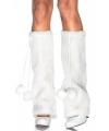 Pluche witte beenwarmers met pompoms