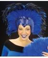 Luxe blauwe veren tooi voor dames