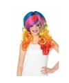 Damespruik met multi-color haar