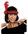 Rode twenties hoofdband met veer en bloem