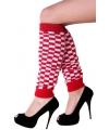 Geblokte beenwarmers rood met wit
