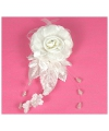 Witte haar broche clip met bloemen