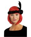 Zwarte twenties hoofdband met veer en bloem