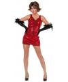 Verkleedkleding rood jurkje met pailletten